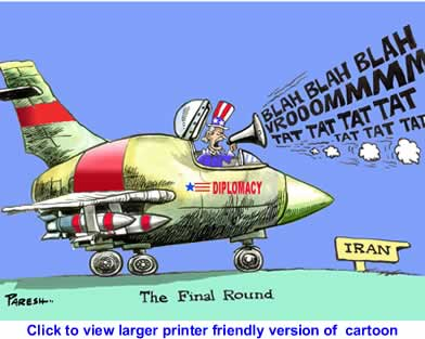 Political Cartoon: Diplomacy on Iran By Paresh Nath, National Herald, India