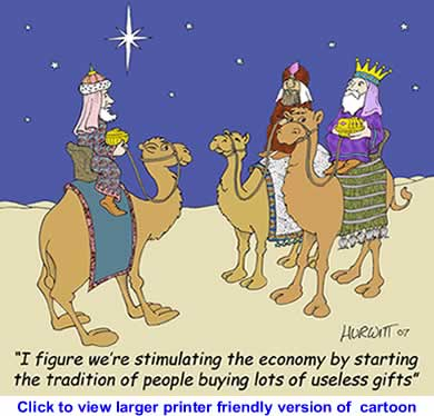 Political Cartoon: Useless Gift Buying Season By Mart Hurwitt