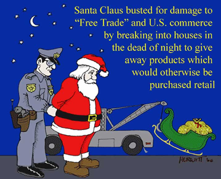 santa claus pictures cartoon. Santa Claus Busted for Damaging Free Trade By Mark Hurwitt