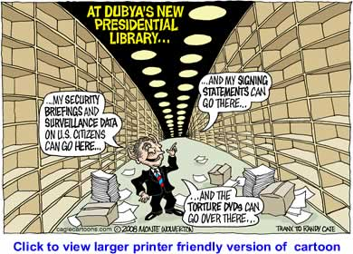 Political Cartoon: Dubyas New Library By Monte Wolverton, Cagle Cartoons