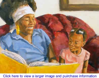 The Black Commentator - Art: Mother Reading to Daughter By London Ladd