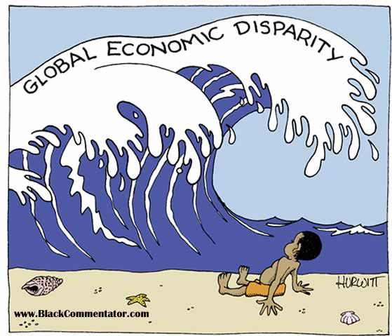 World economic inequality, cartoon