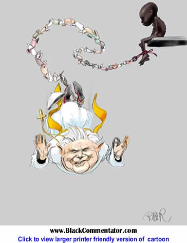 Political Cartoon: Pope Bungyjumping with Condoms By Riber Hansson, Sweden