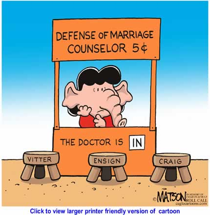 Political Cartoon: Defense Of Marriage Counselor By RJ Matson, Roll Call