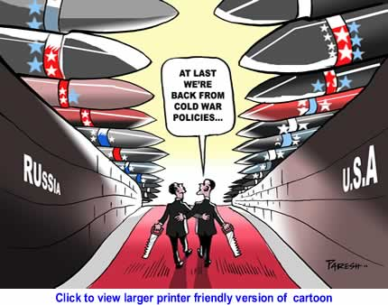 Political Cartoon: US, Russia to Cut Nukes By Paresh Nath, The Khaleej Times, UAE