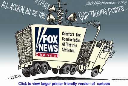 Political Cartoon: Fox News and Acorn By Mike Keefe, The Denver Post