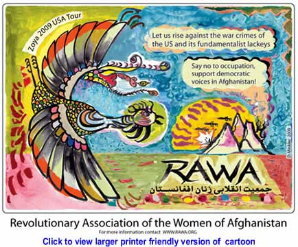 Cartoon: Revolutionary Association of the Women of Afghanistan By Doug Minkler