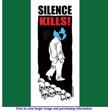 Art: World for Palestine Calendar - Silence Kills - July 2010 By Carlos Latuff for Resistance Art