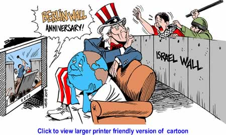 Cartoon: Berlin and Israel Walls By Carlos Latuff