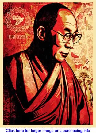 Art: Compassion (His Holiness The Dalai Lama) By Shepard Fairey