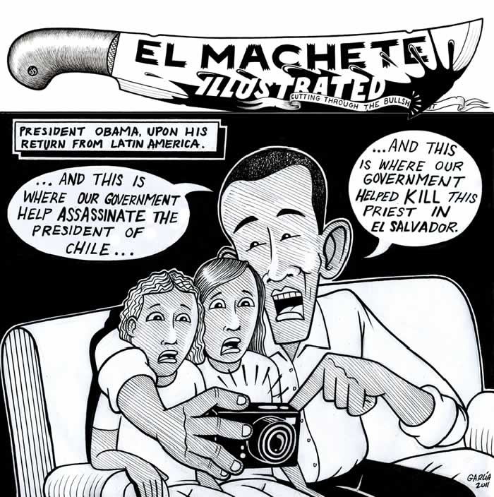 BlackCommentator.com: Political Cartoon - Back From Latin America  By Eric Garcia, Chicago IL