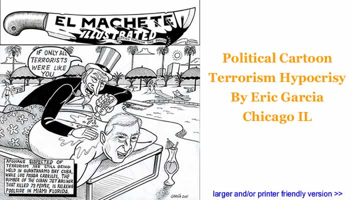 Political Cartoon - Terrorism Hypocrisy By Eric Garcia, Chicago IL