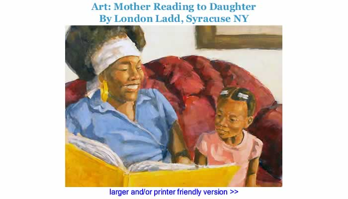 Art: Mother Reading to Daughter By London Ladd, Syracuse NY