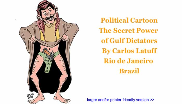 Political Cartoon: The Secret Power of Gulf Dictators By Carlos Latuff, Rio de Janeiro Brazil