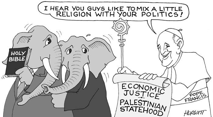 BlackCommentator.com May 21, 2015 - Issue 607: Pope Francis - Political Cartoon By Mark Hurwitt, Brooklyn NY