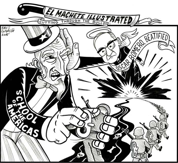 BlackCommentator.com May 28, 2015 - Issue 608: Oscar Romero Beatified - Political Cartoon By Eric Garcia, Chicago IL