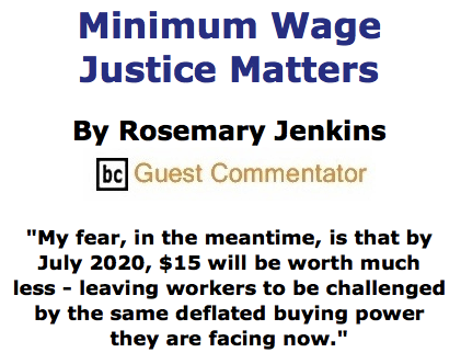 BlackCommentator.com May 28, 2015 - Issue 608: Minimum Wage Justice Matters By Rosemary Jenkins, BC Guest Commentator