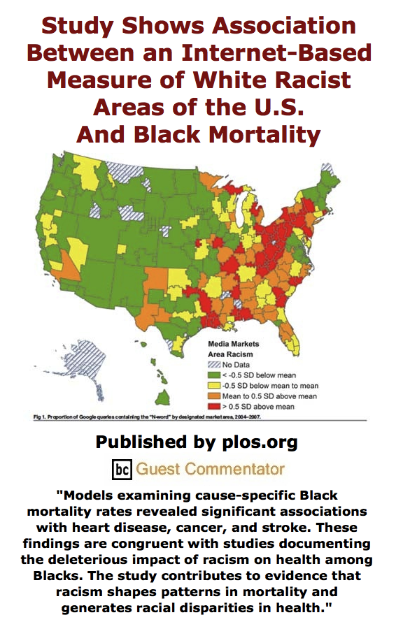 BlackCommentator.com June 04, 2015 - Issue 609: Study Shows Association Between An Internet-Based Measure of White Racist Areas of the U.S. And Black Mortality - Published by plos.org, BC Guest Commentator