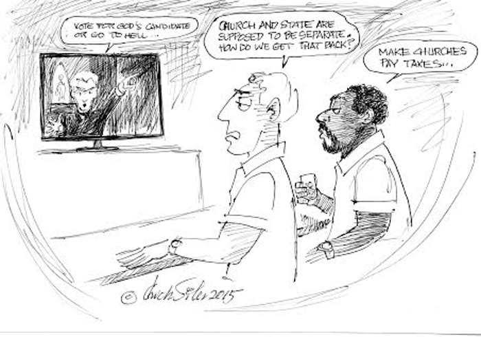 BlackCommentator.com June 18, 2015 - Issue 611: Church and State - Political Cartoon By Chuck Siler, Carrollton TX