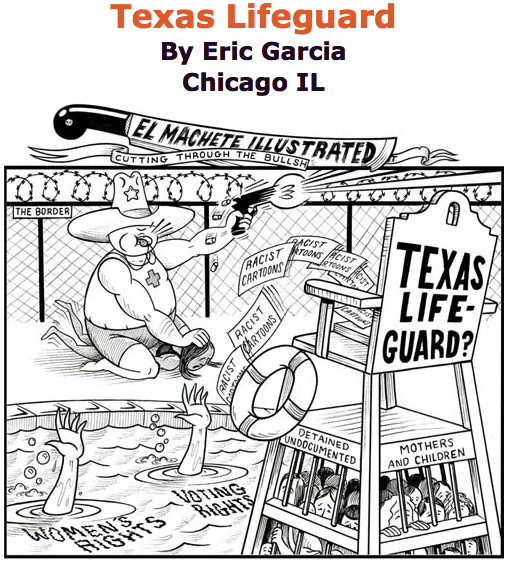 BlackCommentator.com June 18, 2015 - Issue 611: Texas Lifeguard - Political Cartoon By Eric Garcia, Chicago IL