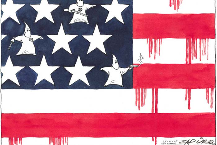 BlackCommentator.com July 09, 2015 - Issue 614: Dividing the USA - Political Cartoon By Zapiro, South Africa