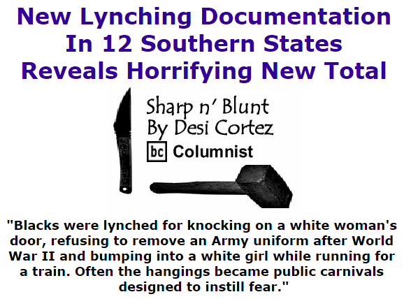 BlackCommentator.com July 09, 2015 - Issue 614: New Lynching Documentation In 12 Southern States Reveals Horrifying New