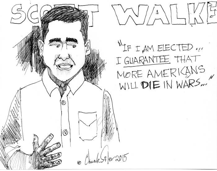 BlackCommentator.com July 23, 2015 - Issue 616: Scott Walker - Political Cartoon By Chuck Siler, Carrollton TX