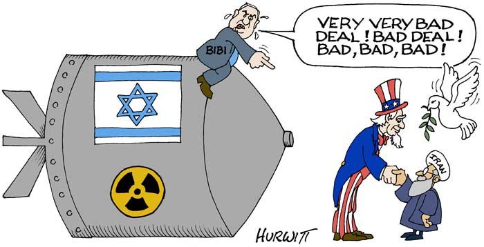 BlackCommentator.com July 30, 2015 - Issue 617: Iran Deal - Political Cartoon By Mark Hurwitt, Brooklyn NY