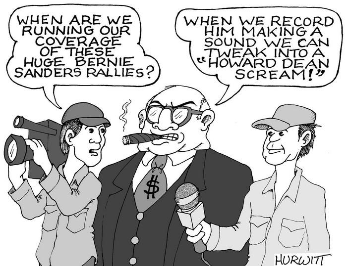 BlackCommentator.com September 03, 2015 - Issue 619: Media Bern - Political Cartoon By Mark Hurwitt, Brooklyn NY