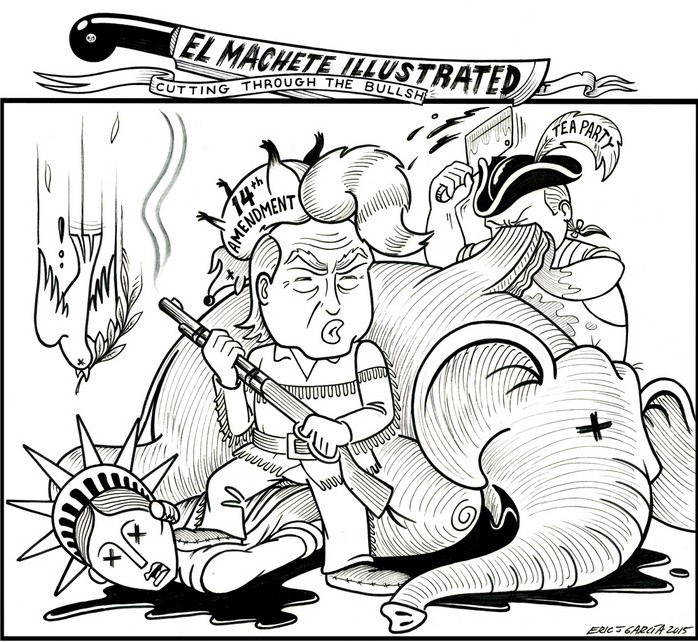 BlackCommentator.com September 03, 2015 - Issue 619: Trump Hunt - Political Cartoon By Eric Garcia, Chicago IL