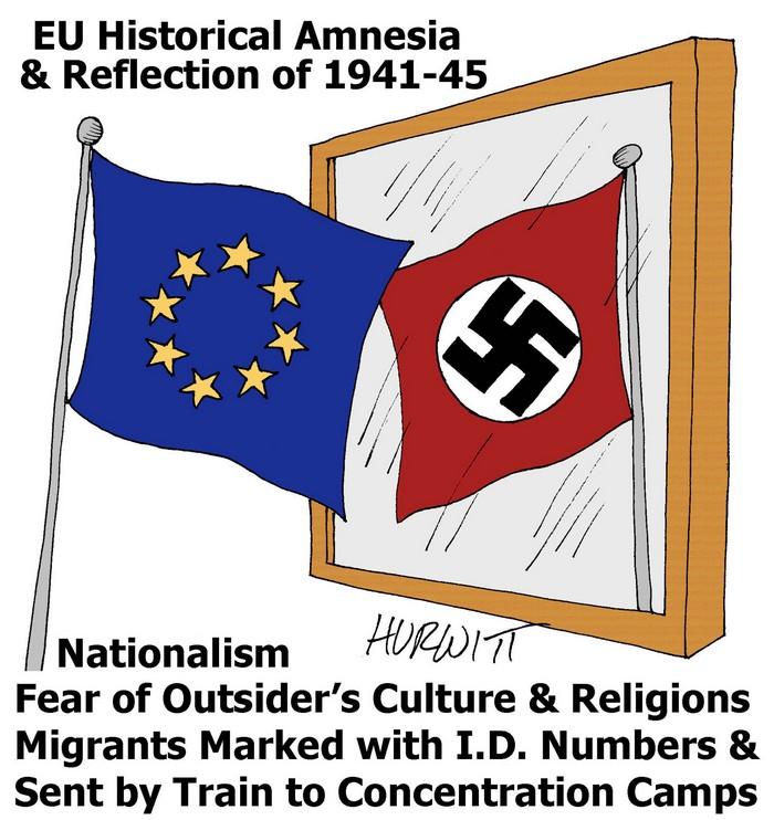 BlackCommentator.com September 10, 2015 - Issue 620: EU Historical Amnesia - Political Cartoon By Mark Hurwitt, Brooklyn NY