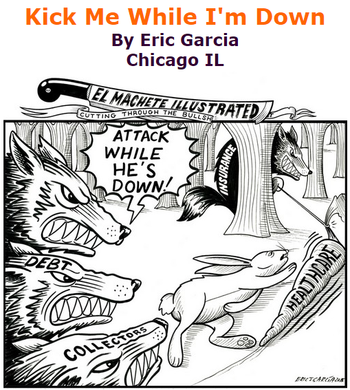 BlackCommentator.com September 10, 2015 - Issue 620: Kick Me While I'm Down - Political Cartoon By Eric Garcia, Chicago IL