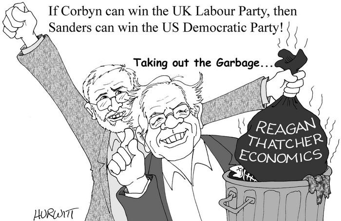 BlackCommentator.com September 17, 2015 - Issue 621: Corbyn/Sanders? - Political Cartoon By Mark Hurwitt, Brooklyn NY