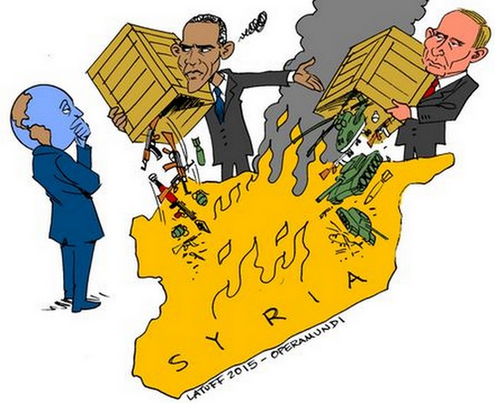 BlackCommentator.com September 24, 2015 - Issue 622: Double Standard On Syria - Political Cartoon By Carlos Latuff, Rio de Janeiro Brazil