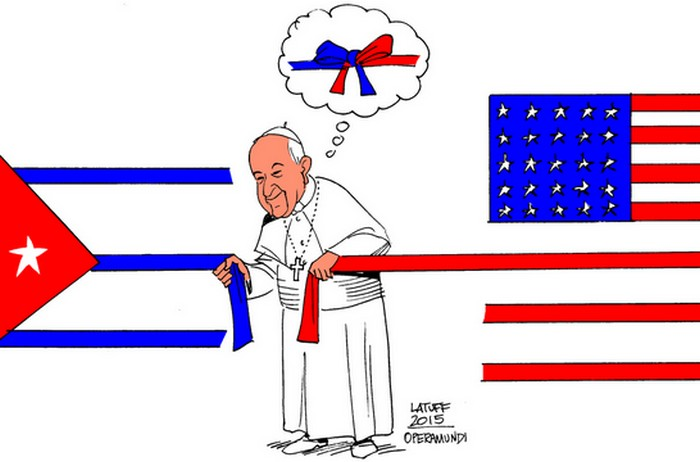 BlackCommentator.com October 01, 2015 - Issue 623: The Pope and Cuba - Political Cartoon By Carlos Latuff, Rio de Janeiro Brazil