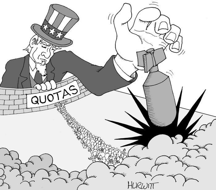 BlackCommentator.com October 01, 2015 - Issue 623: Refugees - Political Cartoon By Mark Hurwitt, Brooklyn NY