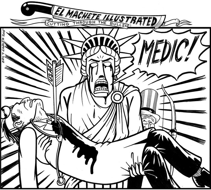 BlackCommentator.com October 15, 2015 - Issue 625: Medic! - Political Cartoon By Eric Garcia, Chicago IL
