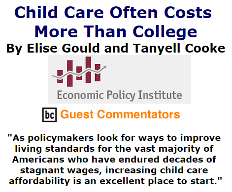 BlackCommentator.com October 15, 2015 - Issue 625: Child Care Often Costs More Than College By Elise Gould and Tanyell Cooke, Economic Policy Institute, BC Guest Commentators