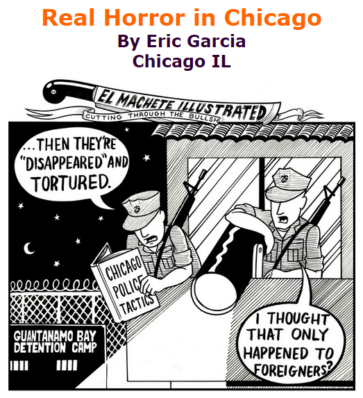 BlackCommentator.com October 29, 2015 - Issue 627: Real Horror in Chicago - Political Cartoon By Eric Garcia, Chicago IL
