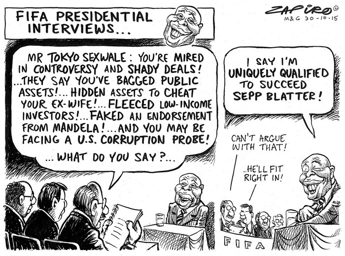 BlackCommentator.com November 05, 2015 - Issue 628: FIFA Presidential Interviews - Political Cartoon By Zapiro, South Africa