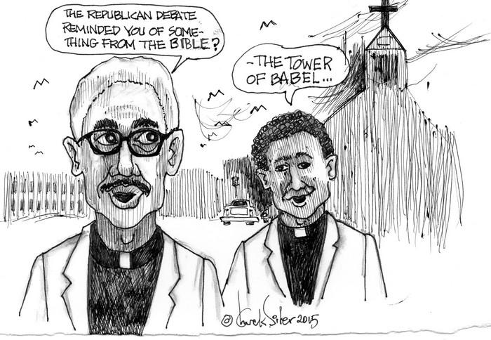 BlackCommentator.com November 12, 2015 - Issue 629: Babel - Political Cartoon By Chuck Siler, Carrollton TX