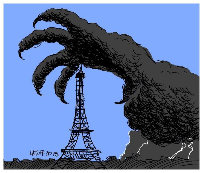 BlackCommentator.com November 19, 2015 - Issue 630: Darkness Falls on Paris - Political Cartoon By Carlos Latuff, Rio de Janeiro Brazil