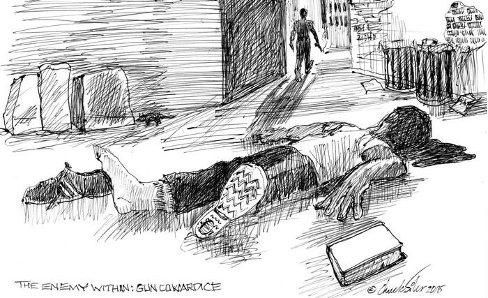 BlackCommentator.com November 19, 2015 - Issue 630: Gun Cowardice - The Enemy Within - Political Cartoon By Chuck Siler, Carrollton TX