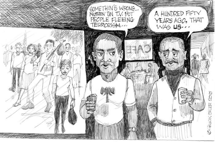 BlackCommentator.com November 26, 2015 - Issue 631: Refugees 2015 - Political Cartoon By Chuck Siler, Carrollton TX