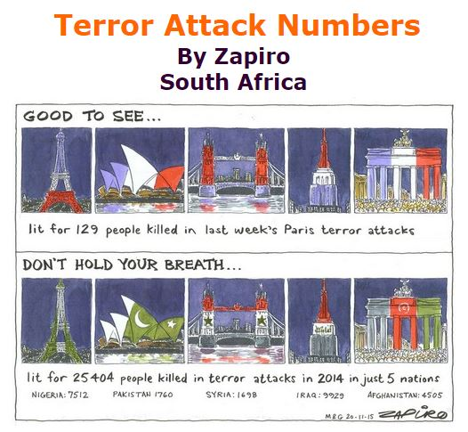BlackCommentator.com December 03, 2015 - Issue 632: Terror Attack Numbers - Political Cartoon By Zapiro, South Africa