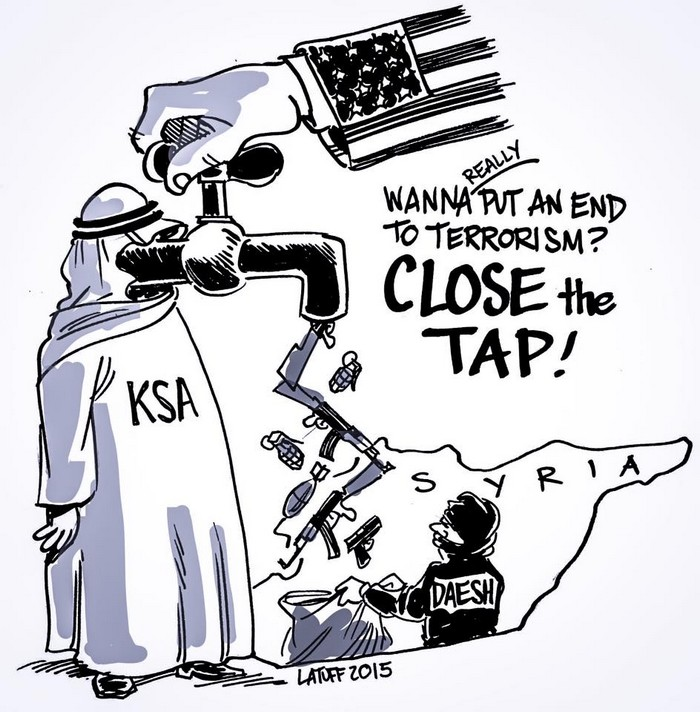 BlackCommentator.com December 03, 2015 - Issue 632: Turning Off Terrorism - Political Cartoon By Carlos Latuff, Rio de Janeiro Brazil
