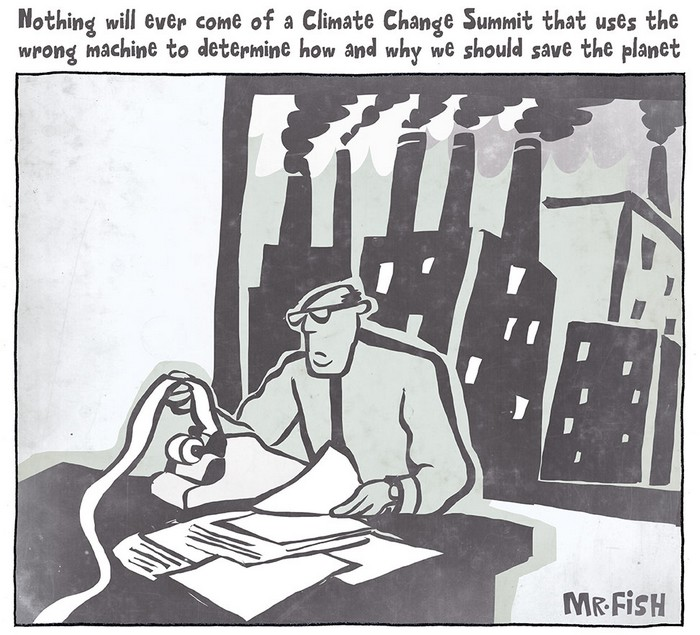 BlackCommentator.com December 10, 2015 - Issue 633: Climate Change Analysis - Political Cartoon By Mr. Fish, Philadelphia PA