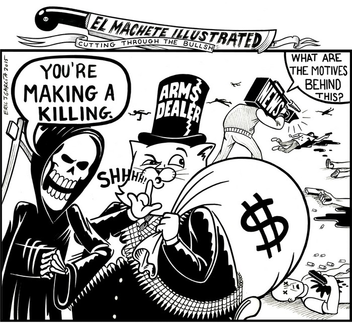 BlackCommentator.com December 10, 2015 - Issue 633: Making A Killing - Political Cartoon By Eric Garcia, Chicago IL
