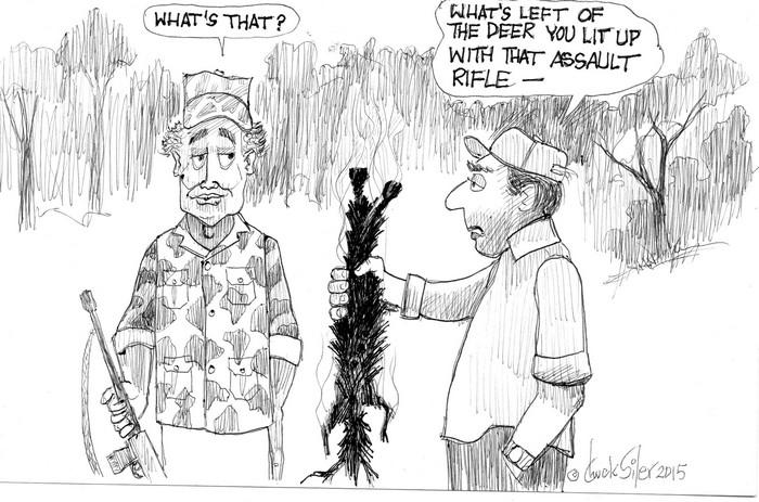 BlackCommentator.com December 17, 2015 - Issue 634: Assualt Rifle Hunting - Political Cartoon By Chuck Siler, Carrollton TX
