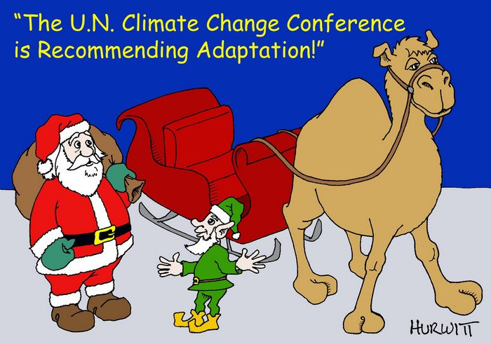 BlackCommentator.com December 17, 2015 - Issue 634: Climate Santa - Political Cartoon By Mark Hurwitt, Brooklyn NY